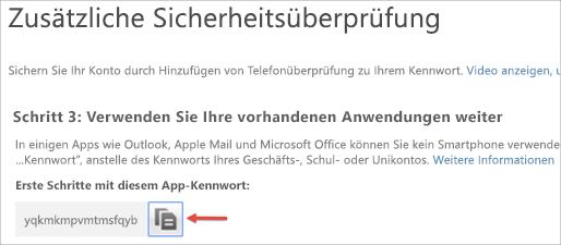 """Symbol """"Kopieren"""" um das App-Kennwort in die Zwischenablage zu kopieren"""