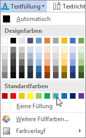 Auswählen einer Textfüllfarbe