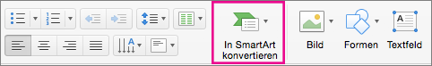 """PowerPoint für Mac, """"In SmartArt konvertieren"""""""