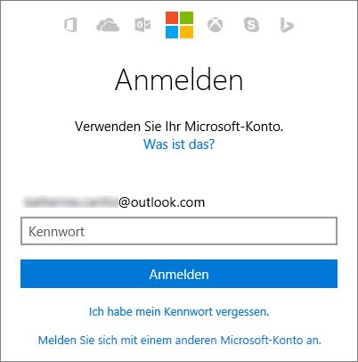 Screenshot des Anmeldebildschirms für das Microsoft-Konto