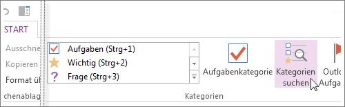 In OneNote können Sie über den Bereich 'Kategorienzusammenfassung' nach Kategorien suchen.