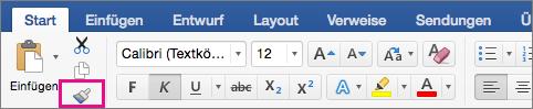 """Auf der Registerkarte """"Start"""" ist die Option """"Formatierung von einer Stelle kopieren und auf eine andere anwenden"""" hervorgehoben."""