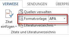 Wählen Sie in Word2013 das für das Zitat gewünschte Zitatformat.