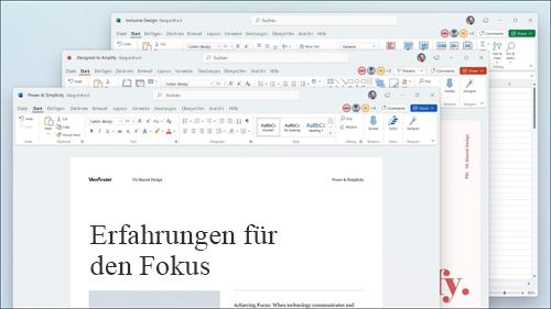 Word, Excel und PowerPoint werden mit visuellen Updates im Menüband und abgerundeten Ecken angezeigt, damit sie der Windows 11-Benutzeroberfläche entsprechen.