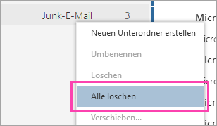 "Screenshot der Option ""Alle löschen"""
