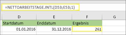 = NETTOARBEITSTAGE. Intl(D53,E53,1) und Ergebnis: 261