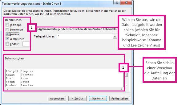 Schritt 2 im Textkonvertierungs-Assistenten