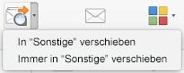 """Die beiden Optionen im Menü """"In 'Sonstige' verschieben"""" sind """"In 'Sonstige' verschieben"""" und """"Immer in 'Sonstige' verschieben"""""""