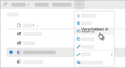 "Screenshot des Befehls ""Verschieben in"" in OneDrive for Business"