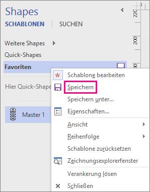 Klicken Sie mit der rechten Maustaste auf den Namen der Schablone, um das Hinzufügen eines neuen Master-Shapes zu speichern.
