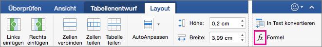 """Bei vergrößertem Fenster wird """"Formel"""" auf der Registerkarte """"Layout"""" und nicht im Menü """"Daten"""" angezeigt."""