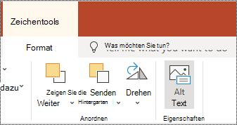 """Schaltfläche """"Alternativ Text"""" im Menüband für eine Form und ein Video in PowerPoint Online."""