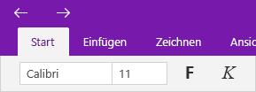 """Pfeile zu besuchten Seiten über der Registerkarte """"Start""""."""