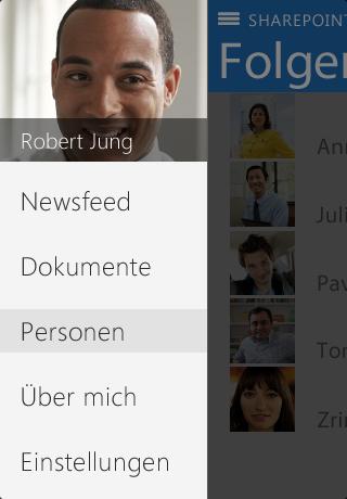 Screenshot des Pivots 'Über mich' in der SharePoint Newsfeed-App