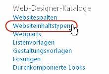 Link 'Websiteinhaltstypen' unter 'Galerien'
