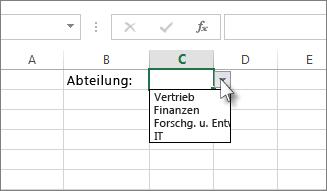 Beispiel für eine Dropdownliste in Excel