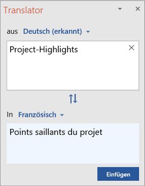"""Bereich """"Übersetzer"""" mit aus dem Englischen ins Französische übersetzten Wörtern"""