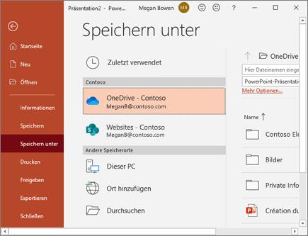 PowerPoint auf OneDrive speichern