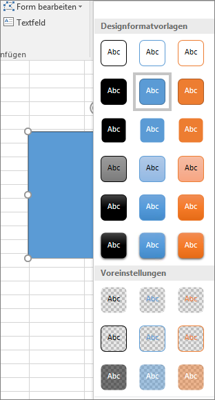 Formenartenkatalog mit der Anzeige der neuen vordefinierten Formatvorlagen in Excel 2016 für Windows
