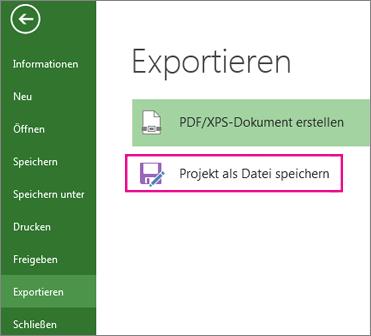 Projekt als Datei speichern