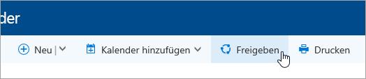 """Screenshot der Schaltfläche """"Kalender freigeben"""" auf der Navigationsleiste."""
