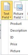 Einfügen von Textfeldern in einen Datensatzkatalog