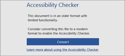 Meldung zur Barrierefreiheit, in der Sie gefragt werden, ob Sie die Datei in ein modernes Format konvertieren möchten, um alle Barrierefreiheitsfeatures nutzen zu können