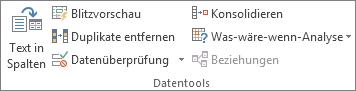 """Gruppe """"Datentools"""" auf der Registerkarte """"Daten"""""""