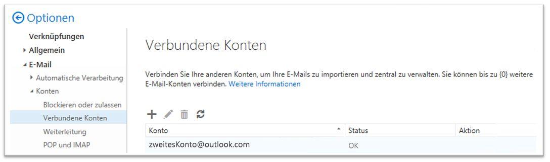 Option für Office 365 - verbundene Konten
