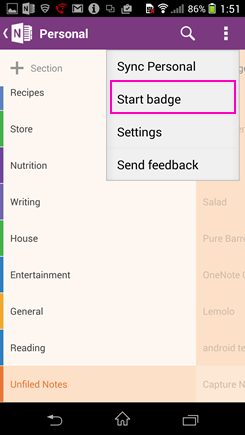 "Screenshot der Option ""Badge starten"" in ""Einstellungen"""