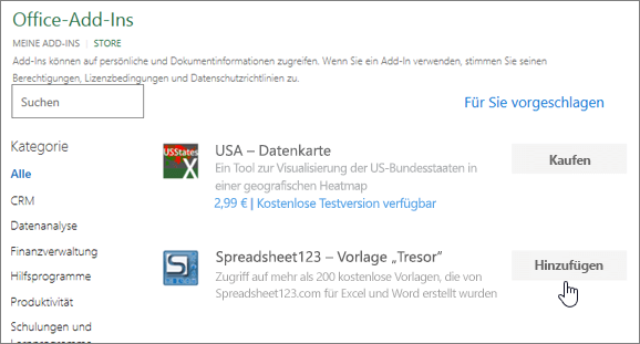 Screenshot zeigt die Office-Add-ins-Seite, in dem Sie auswählen können, oder die Suche nach einem Add-in für Excel.