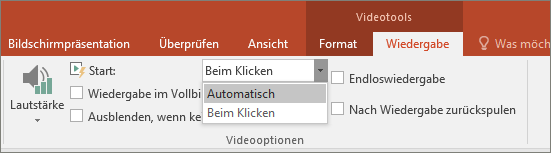 Abbildung der Videooptionen in PowerPoint