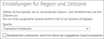Legen Sie die Sprache von Outlook Web App fest, und entscheiden Sie, ob die Ordner umbenannt werden sollen