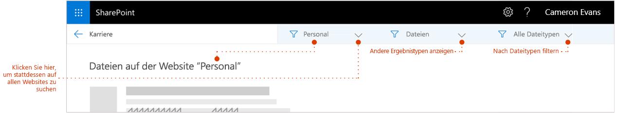 Screenshot der Seite mit den Suchergebnissen, vergrößert oben in den Ergebnissen, bei denen ein Breadcrumb die Website anzeigt, aus der die Ergebnisse stammen. Zeiger auf Filter.