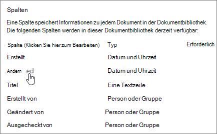 Wählen Sie Spalte Abschnitt der Einstellungen für die Dokumentbibliothek mit Spalte ausgewählt wird.