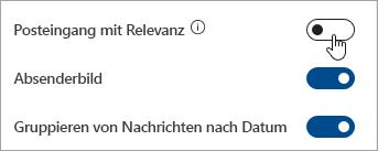 """Screenshot der Umschaltfläche """"Posteingang mit Relevanz"""" in Schnelleinstellungen"""