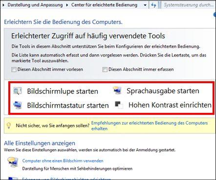Windows-Dialogfeld 'Center für erleichterte Bedienung', wo Sie Hilfstechnologien auswählen können