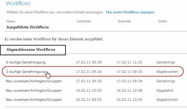 Liste der abgeschlossenen Workflows auf der Workflowseite für ein Element