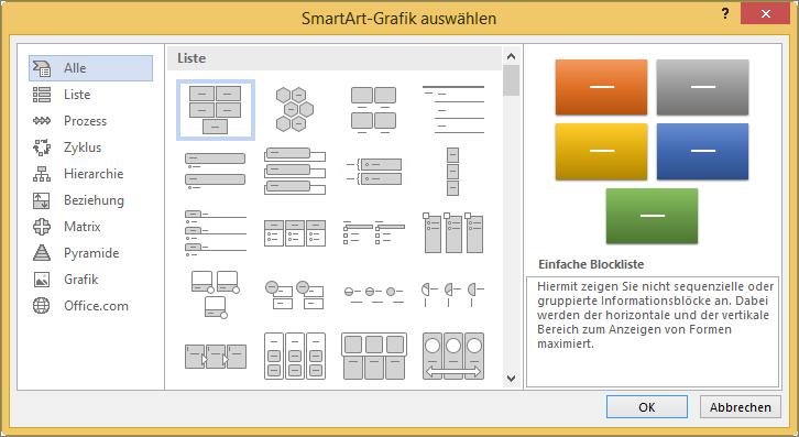 """Auswahlmöglichkeiten im Dialogfeld """"SmartArt-Grafik auswählen"""""""