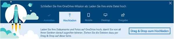 Screenshot der OneDrive-Führung, die bei der ersten Verwendung von OneDrive for Business in Office 365 angezeigt wird