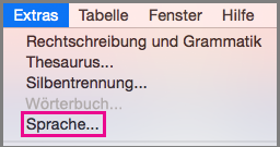 """Office für Mac-Menü """"Sprache"""" (unter """"Extras"""")"""
