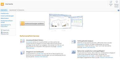 Anhand der PerformancePoint-Websitevorlage können Sie sich auf einfache Weise über PerformancePointServices informieren und PerformancePoint Dashboard-Designer ausführen