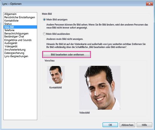 """Screenshot des Optionsfensters """"Mein Bild"""" mit aktivierter Option """"Bild bearbeiten oder entfernen"""""""