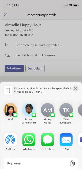 Besprechungsdetails – Screenshot Mobilgerät