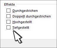"""Auswählen von """"Hochgestellt"""" oder """"Tiefgestellt"""""""