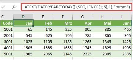 Excel-Arbeitsblatt mit SEQUENZ-Funktion