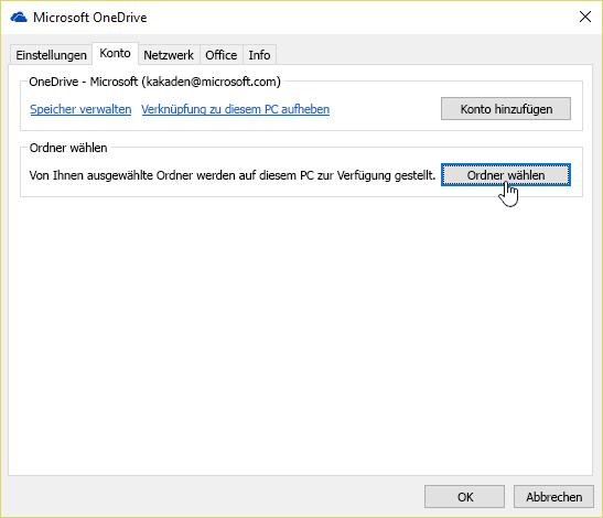 Ein Screenshot mit den Cursor über die Schaltfläche Ordner auswählen, in die Registerkarte Konto im Menü der OneDrive-Einstellungen.