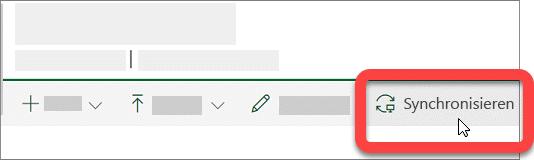 """Screenshot der Schaltfläche """"Synchronisieren"""" für eine SharePoint-Bibliothek."""