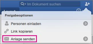 """Um Ihr Dokument als Anlage einer E-Mail zu senden, klicken Sie auf """"Anlage senden""""."""