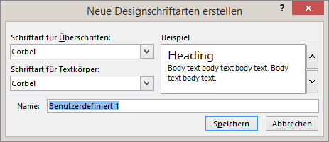 """Dialogfeld """"Benutzerdefinierte Schriftarten"""" in PowerPoint"""